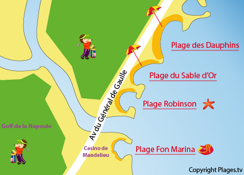 Map of Robinson Beach in Mandelieu
