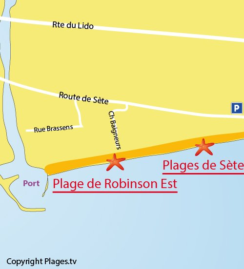 Map of Robinson Beach in Marseillan