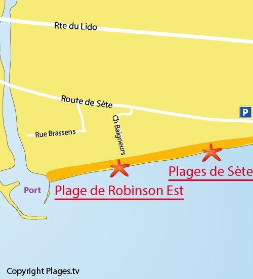 Map of Robinson Beach in Marseillan
