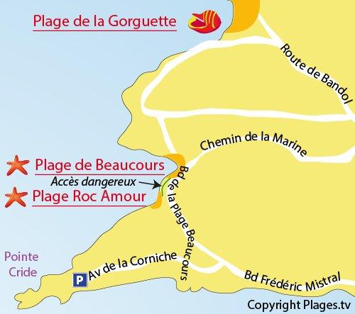 Plan de la plage de Roc Amour à Sanary sur Mer