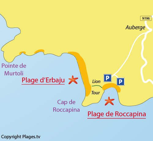 Map of Roccapina Beach in Sartène