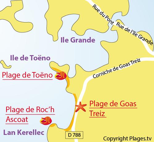 Plan de la plage de Roch Ascoat à Trébeurden