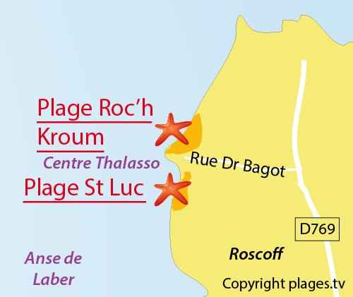 Map of Roc'h Kroum Beach in Roscoff