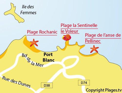 Plan de la plage de Rochanic à Port Blanc