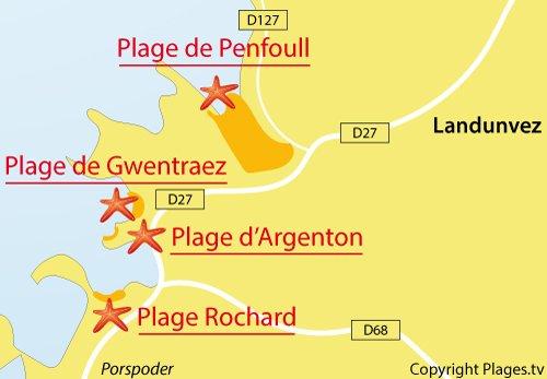 Carte de la plage de Rochard à Argenton - Landunvez
