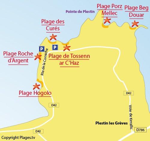 Carte de la plage de la roche d'Argent à Plestin les Grèves