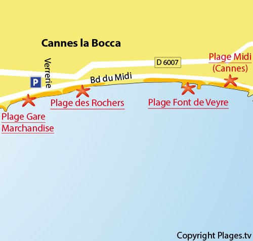 Map of Rochers Beach in Cannes La Bocca