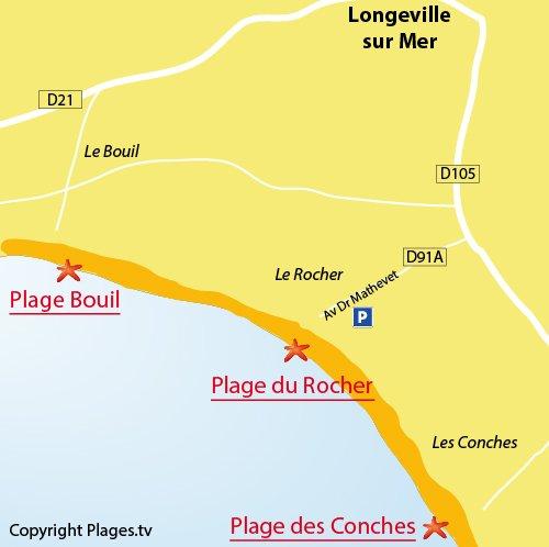 Carte de la plage du Rocher de Longeville sur Mer (85)