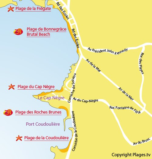 Map of Roches Brunes Beach in Six Fours les Plages