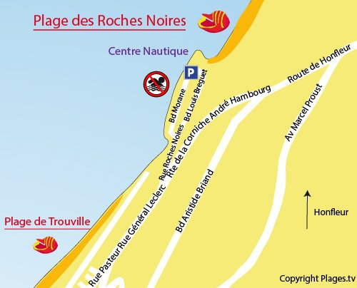 Map of the Roches Noires beach in Trouville sur Mer