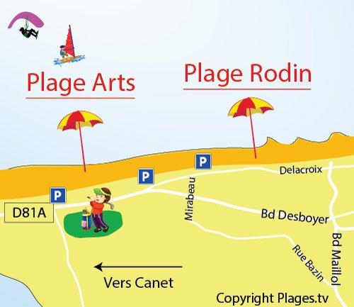 Mappa della Spiaggia Rodin a Saint Cyprien