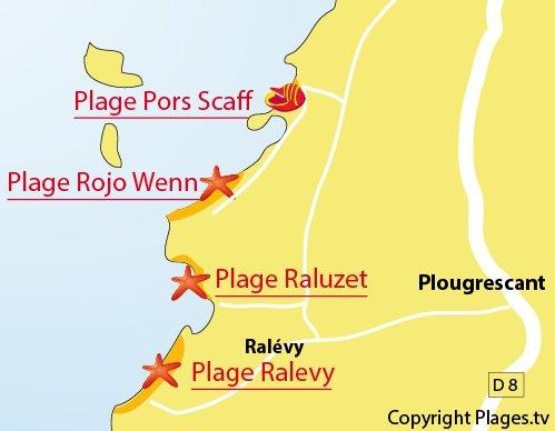 Plan de la plage de Rojo Wenn à Plougrescant