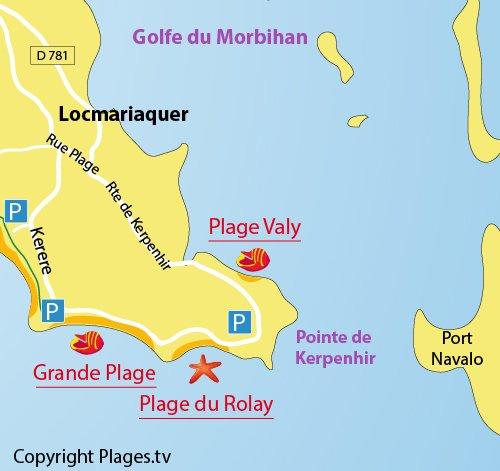 Carte de la plage du Rolay à Locmariaquer 56