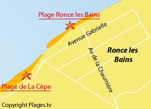 Map of Ronce les Bains Beach in La Tremblade