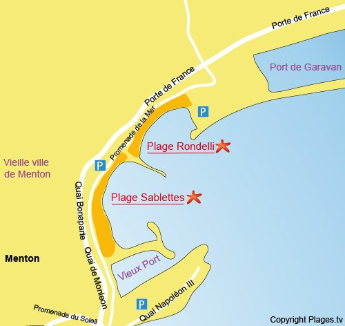 Map of Rondelli-Garavan beach in Menton