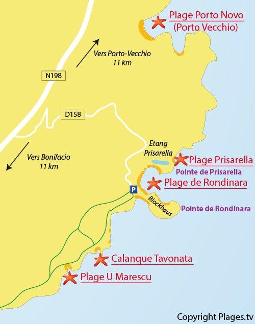 Carte de la plage de Rondinara en Corse