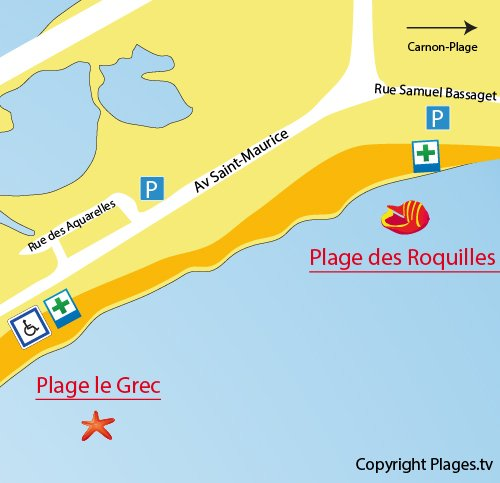 Map of Roquilles Beach in Palavas les Flots