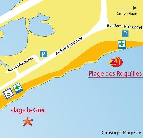 Carte de la plage des Roquilles à Palavas les Flots
