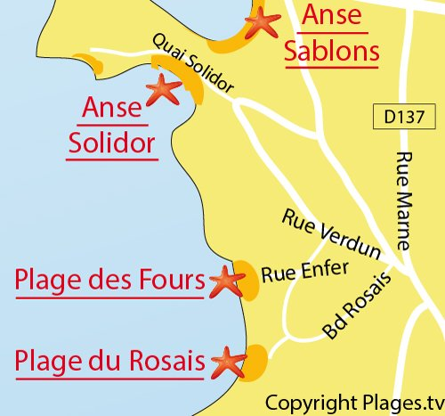 Map of the Rosais Beach in Saint-Malo