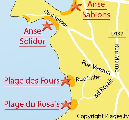Carte de la plage du Rosais à Saint-Malo