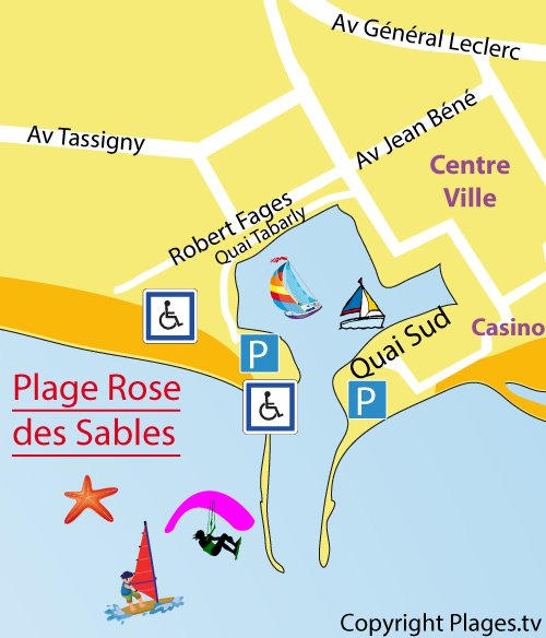 Map of the Roses des Sables Beach in La Grande Motte