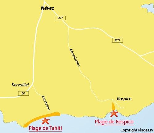 Carte de la plage de Rospico à Névez