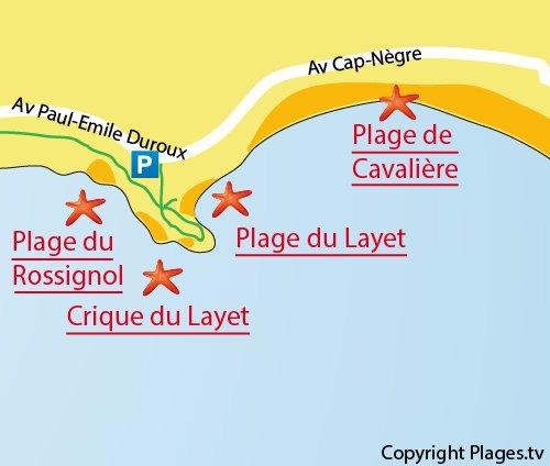 Plan de la plage du Rossignol au Lavandou