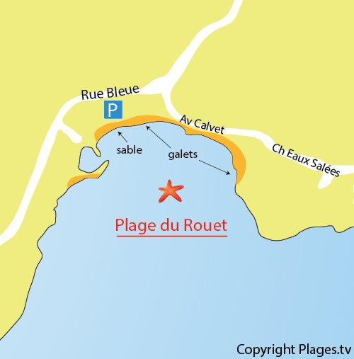 Map of Rouet beach in Carry le Rouet