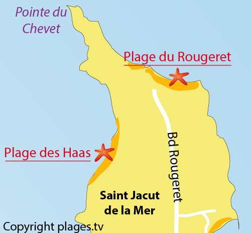 Map of Rougeret Beach in Saint Jacut de la Mer