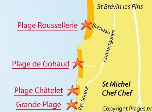 Carte de la plage de la Roussellerie à St Michel Chef Chef