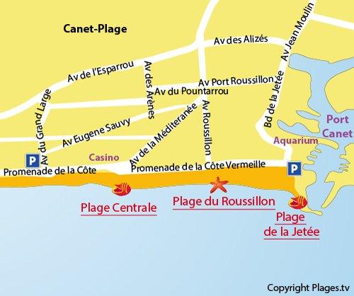 Carte de la plage du Roussillon à Canet-Plage 66