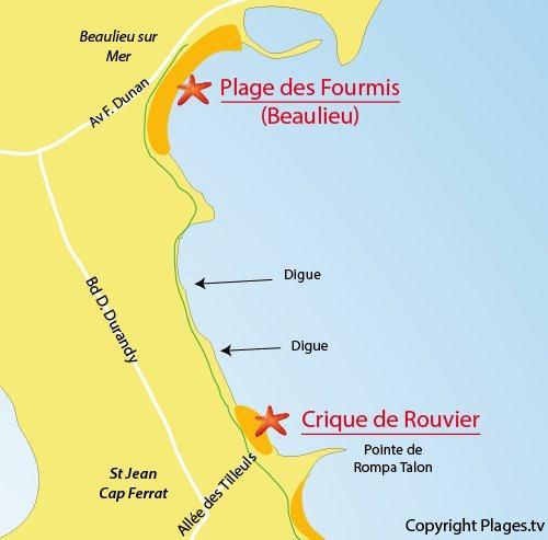Carte de la plage du Rouvier à Saint Jean Cap Ferrat