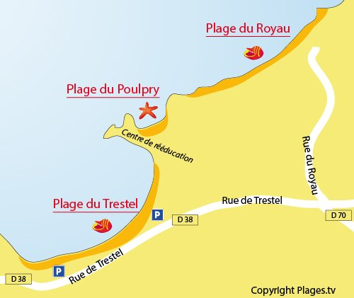 Carte de la plage du Royau à Trévou Tréguignec (Côtes d'Armor)
