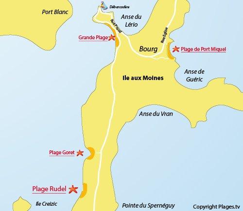 Plan de la plage du Rudel sur l'ile aux Moines