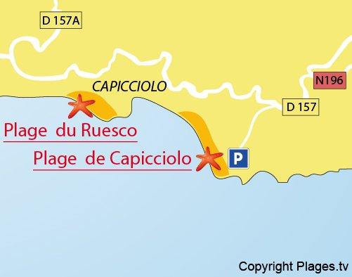 Plan de la plage du Ruesco à Olmeto