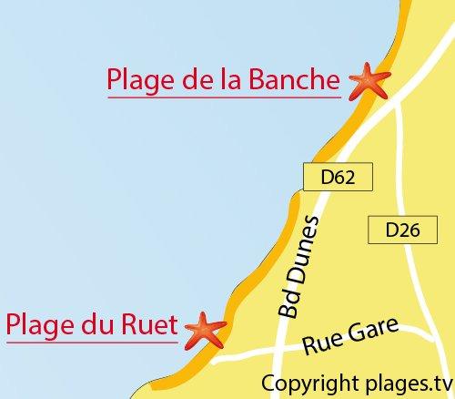 Carte de la plage du Ruet à St Jacut de la Mer
