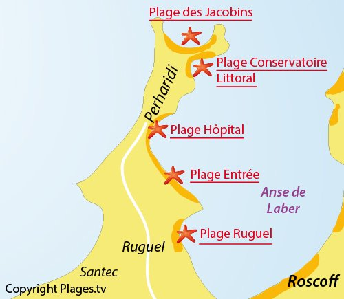 Map of Ruguel Beach in Roscoff