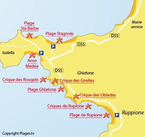Map of Ruppione Beach in Pietrosella