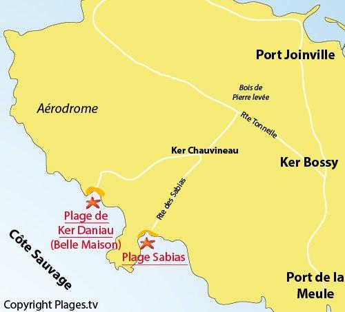 Carte de la plage des Sabias sur l'ile d'Yeu
