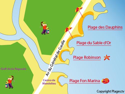 Mappa della Spiaggia della Sable d'Or di Mandelieu