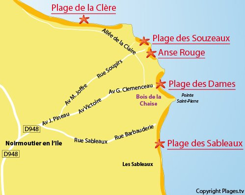 Map of the Sableaux Beach in Noirmoutier