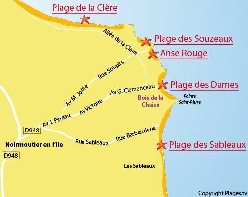 Map of the Sableaux Beach in Noirmoutier