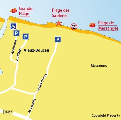 Carte de la plage des Sablères à Vieux Boucau