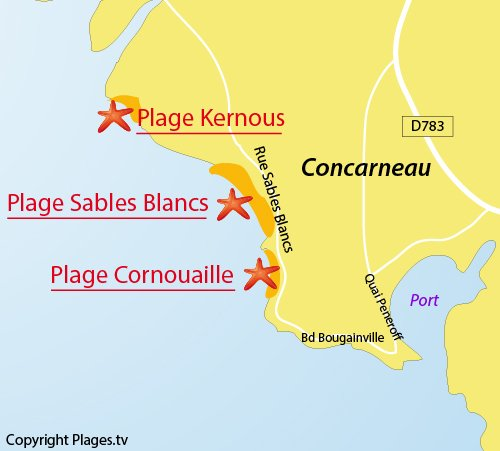 Map of Sables Blancs beach in Concarneau