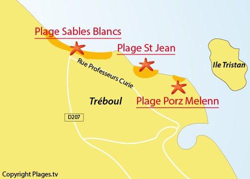 Mappa della Spiaggia Sables Blancs a Douarnenez