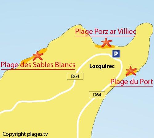 Carte de la plage des Sables Blancs à Locquirec