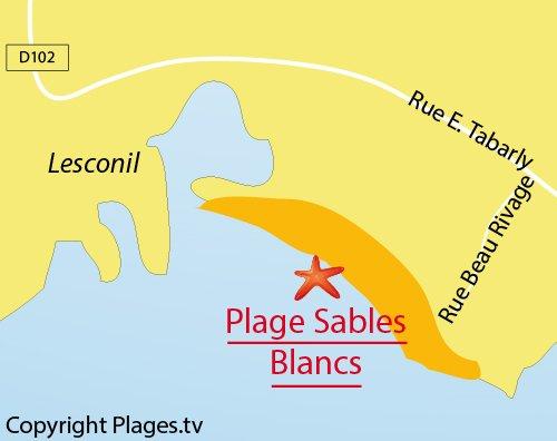 Carte de la plage des Sables Blancs à Loctudy