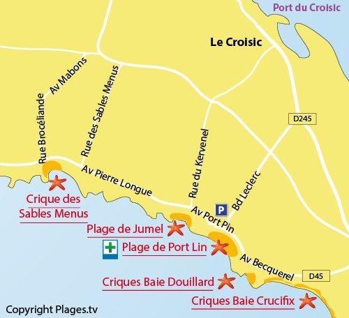 Plan de la plage des Sables Menus - Le Croisic