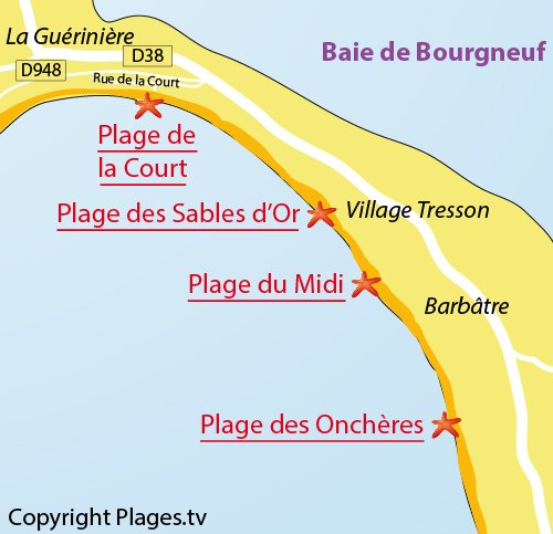 Map of Sables d'Or Beach in Noirmoutier