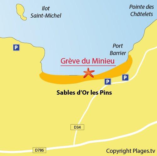 Map of Minieu Beach beach in Sables d'Or les Pins